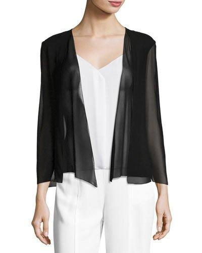 Halston Heritage Open Silk-georgette Jacket In Black