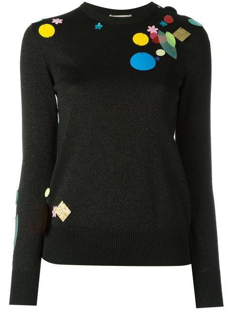 Christopher Kane Sequin Detail Metallic Sweater - Black