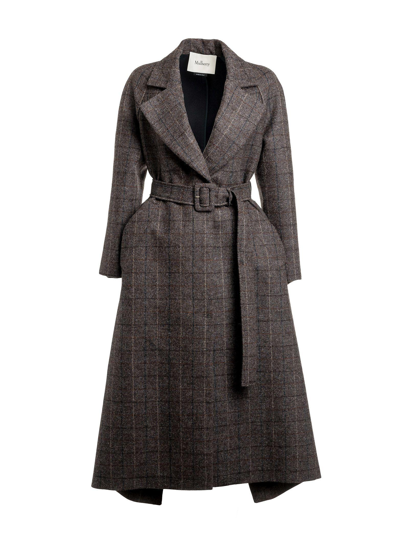 Mulberry Checked Belted Coat In Grey