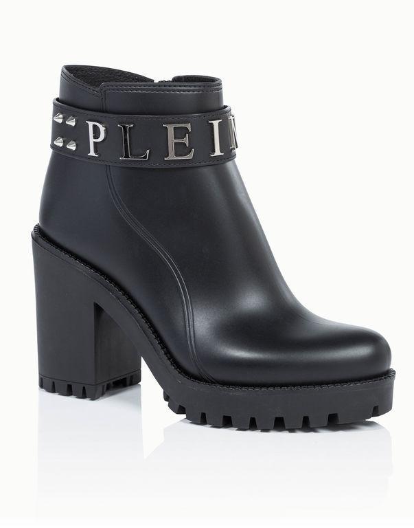 "Philipp Plein Gummy Low Heel Mid Boots ""calla"" In Black/nickel"
