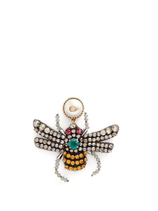 Gucci Crystal Embroidered Bee Earrings In Gold