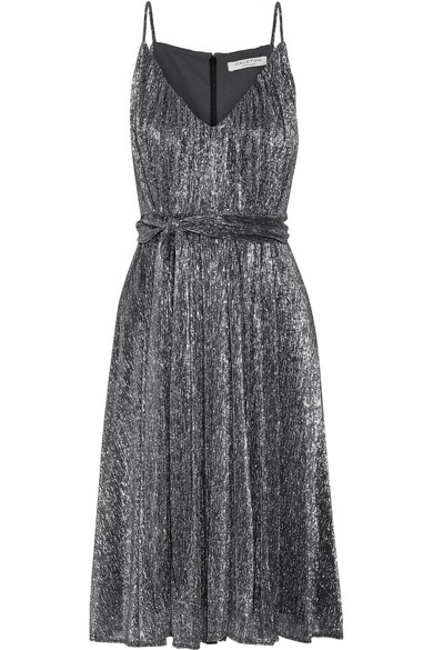 Halston Heritage Metallic Jersey Belted Dress In Steel