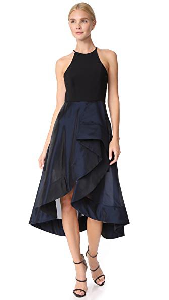 Halston Heritage High Neck Flounce Dress In Dark Navy/black