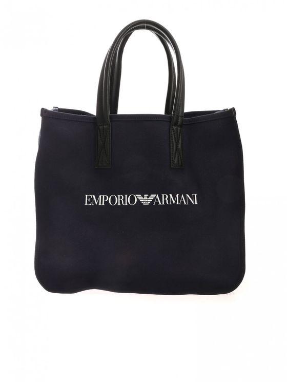 Giorgio Armani Shopper Canvas Blue Logo Shopping Bag Tote  Y4n135y046e 81285 In Black
