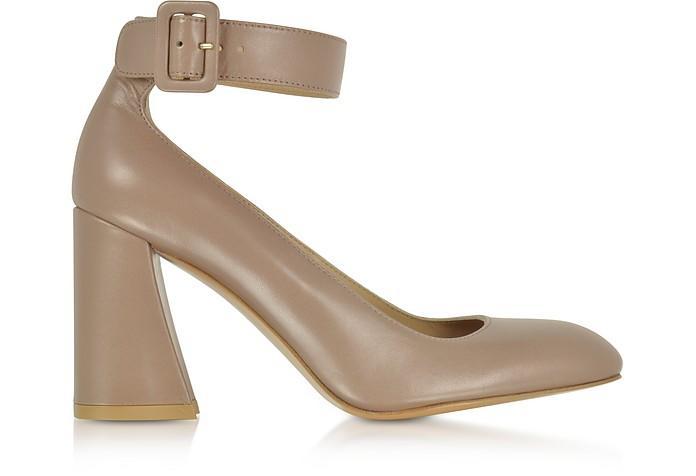 Stuart Weitzman Clarisa Mouse Nappa Leather Ankle Strap Pumps