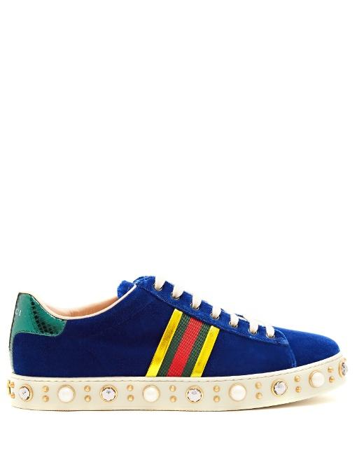 Gucci New Ace Faux-pearl And Crystal Velvet Trainers In Dark Blue