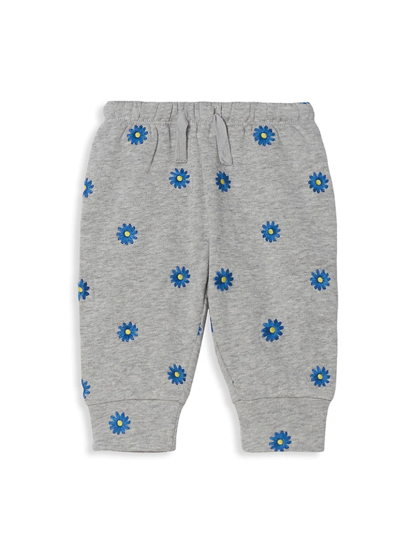 Stella Mccartney Baby Girls Embroidered Daisies Cotton-fleece Joggers In Grey