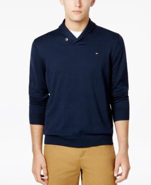 Tommy Hilfiger Men's Springfield Shawl-collar Sweater, Created For Macy's In Sky Captain