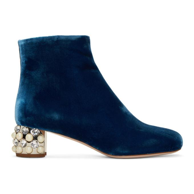 Miu Miu Embellished Block-heel Velvet Boots In Blue