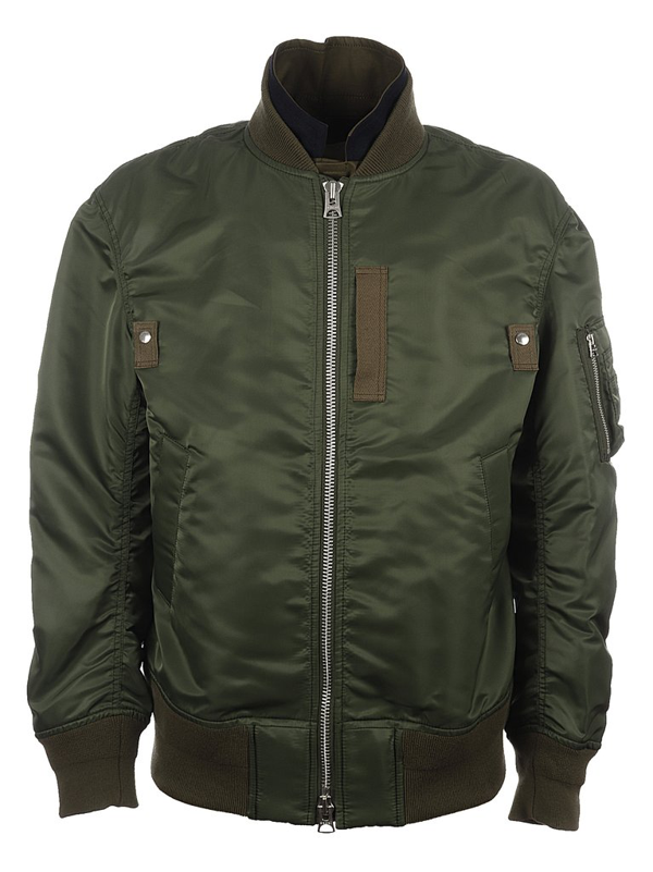 Sacai Layered Bomber Zip Jacket In Green