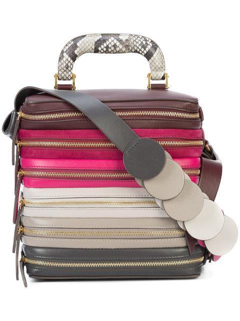 Anya Hindmarch Pink Multicolor Six Zip Stack Top Handle Bag
