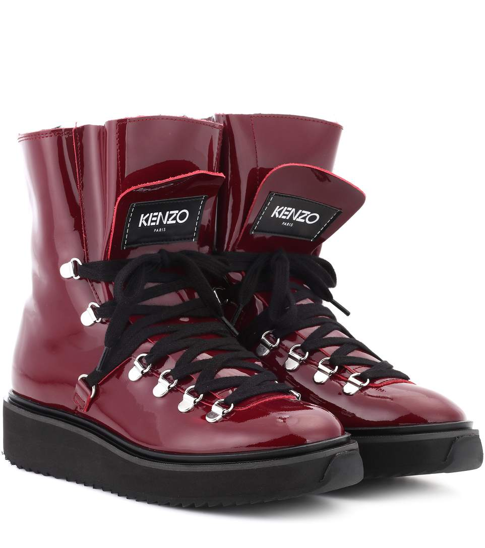 Kenzo Patent Leather Boots In Lordeaux