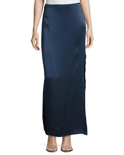 Halston Heritage Satin Maxi Skirt In Dark Navy/black