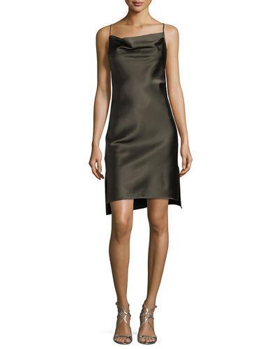 Halston Heritage Cowl Neck Satin Slip Dress In Dark Olive