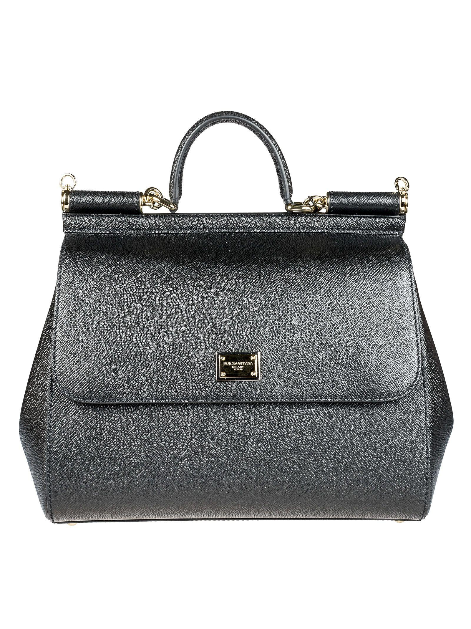 Dolce & Gabbana Miss Sicily Dauphine Leather Bag In Black