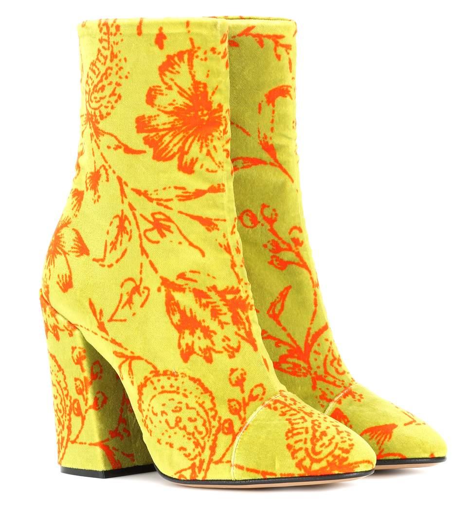 e83eda0405f5 Dries Van Noten Angled-Heel Velvet Ankle Boots In Yellow