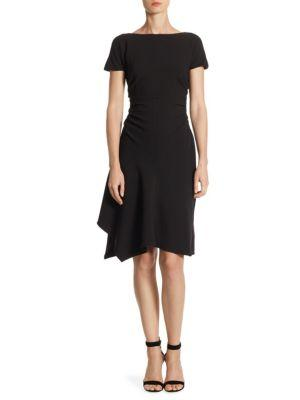 Halston Heritage Asymmetric Ruched Dress In Black