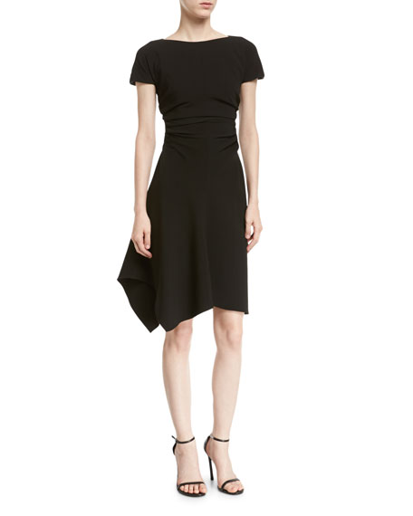 Halston Heritage Asymmetric Ruched Dress In Cream