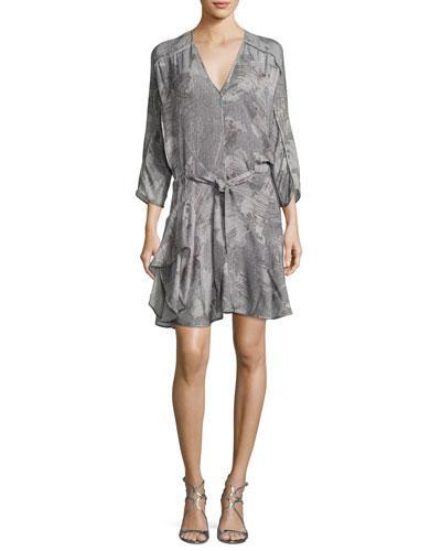 Halston Heritage Ruffle-hem Silk Dress In Gray Sunburst Print