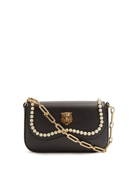 c0d6cb56e69 Gucci Broadway Mini Embellished Leather Shoulder Bag In Black