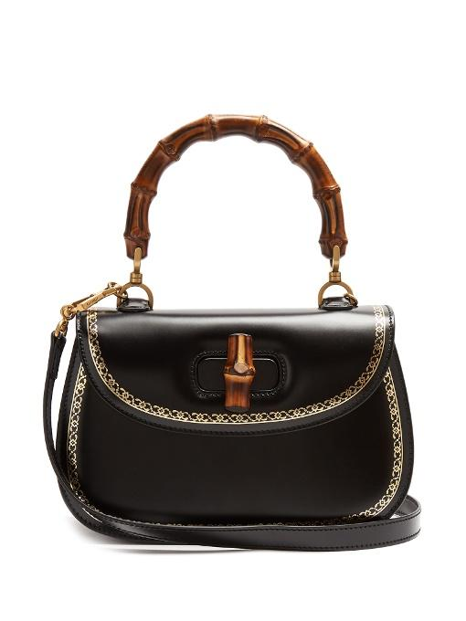 d8a68d0447cb8f Gucci Bamboo Classic Frame Print Leather Top Handle Bag In Black ...