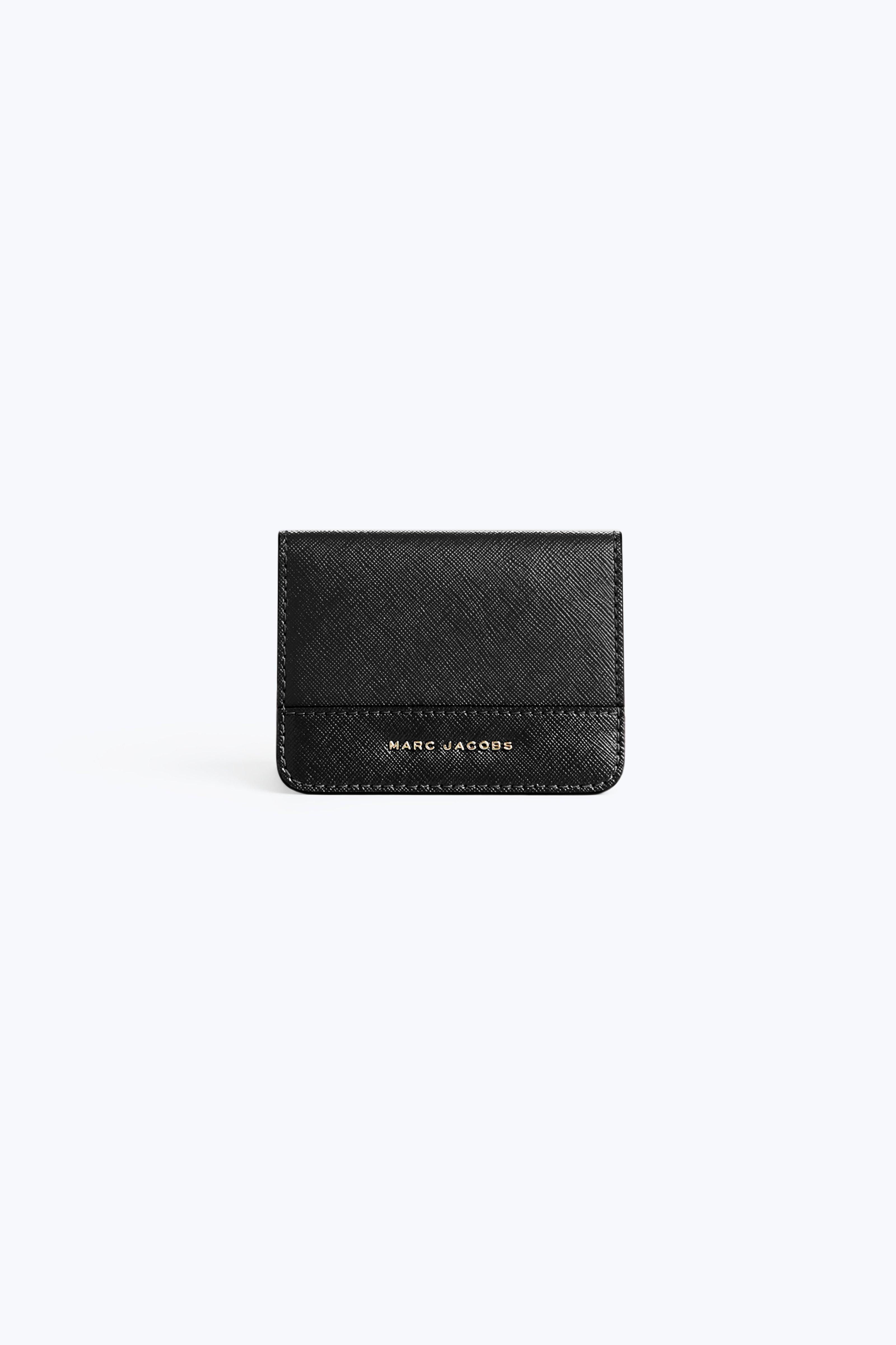 Marc Jacobs Saffiano Colorblocked Train Pass Case In Black / Berry