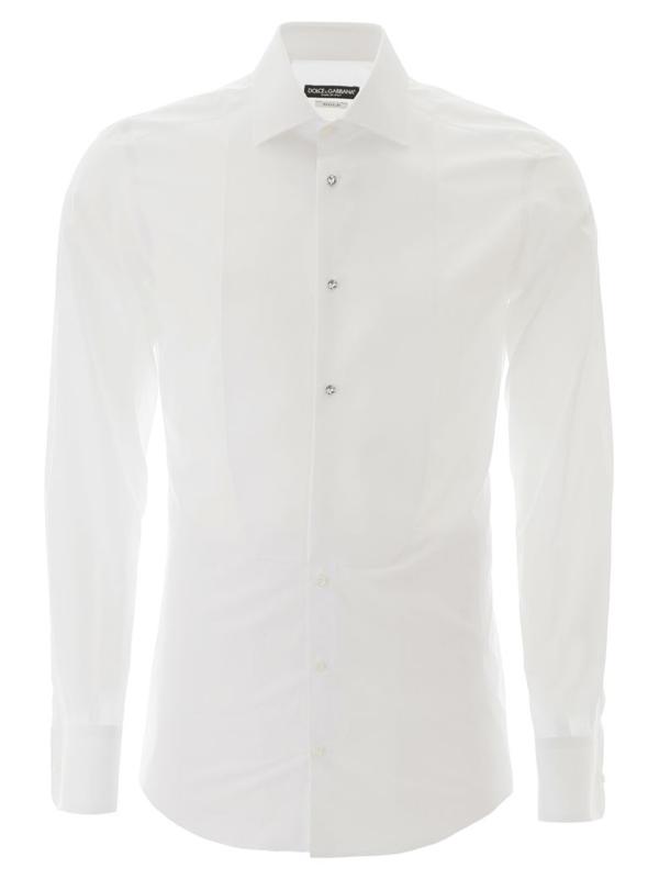 Dolce & Gabbana Gold Tuxedo Shirt In Variante Abbinata (white)