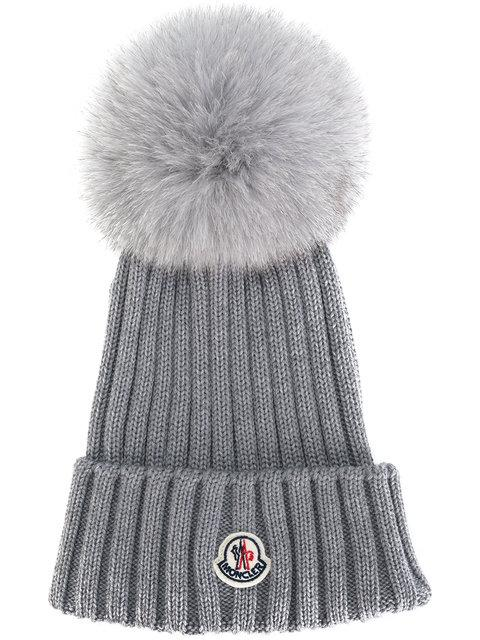 f4f9c63e3fd Moncler Wool Knit Beanie Hat W  Fox Pompom In Grey
