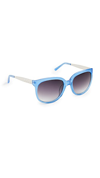 Linda Farrow Luxe X Matthew Williamson Colorful Sunglasses In Saph/slvr/grey Grad