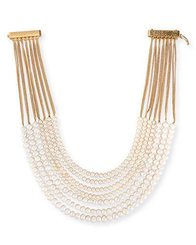 Rosantica Mini Raissa Beaded Necklace In Pearl