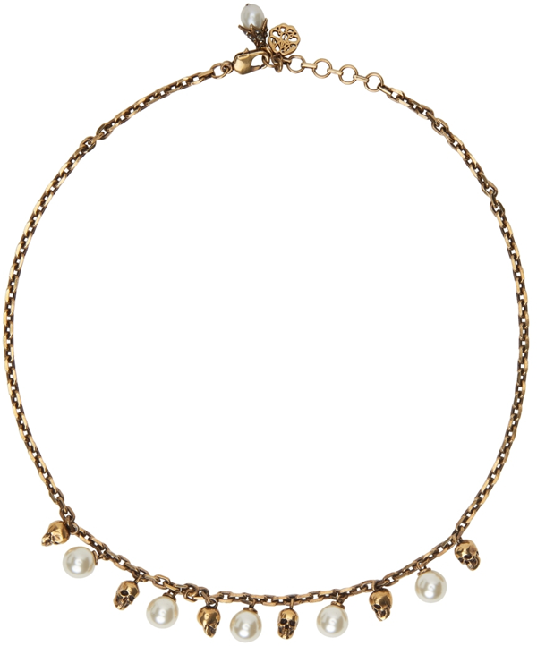 Alexander Mcqueen Gold Pearly Skull Necklace In 0448 4039 Mix