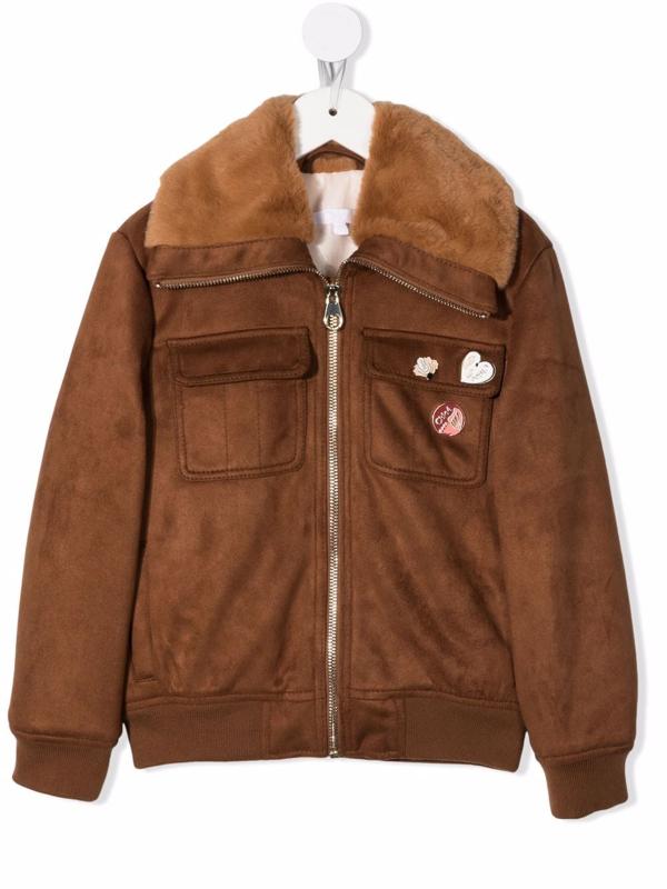 Chloé Kids' Faux Suede Jacket W/ Faux Fur Collar In Brown