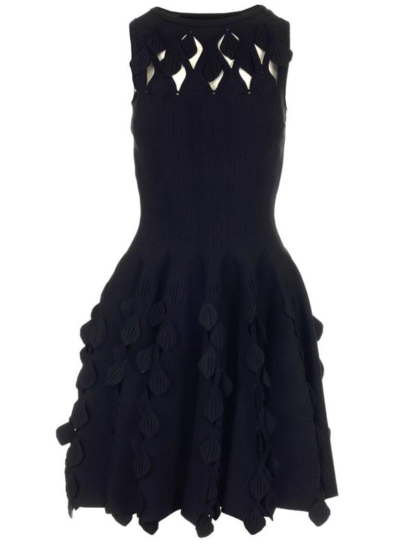 Alaïa Flared Knit Skater Dress In Black