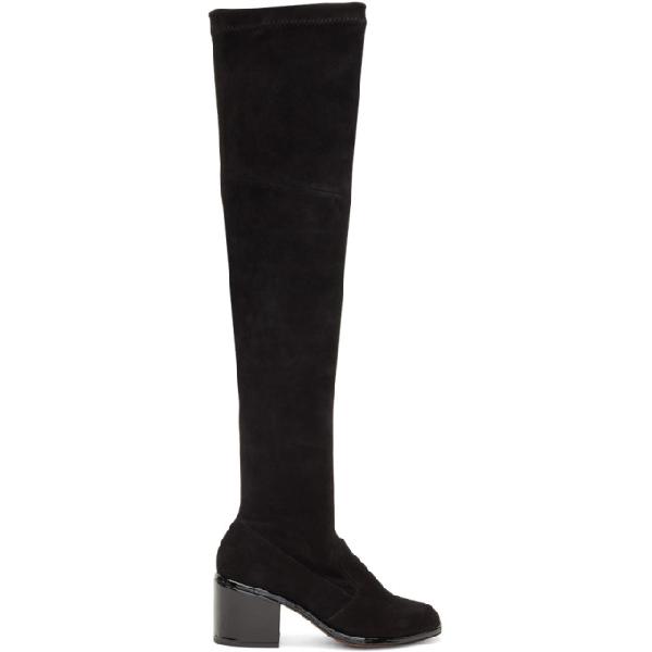 Robert Clergerie 'Mepe' Patent Heel Suede Thigh High Sock Boots