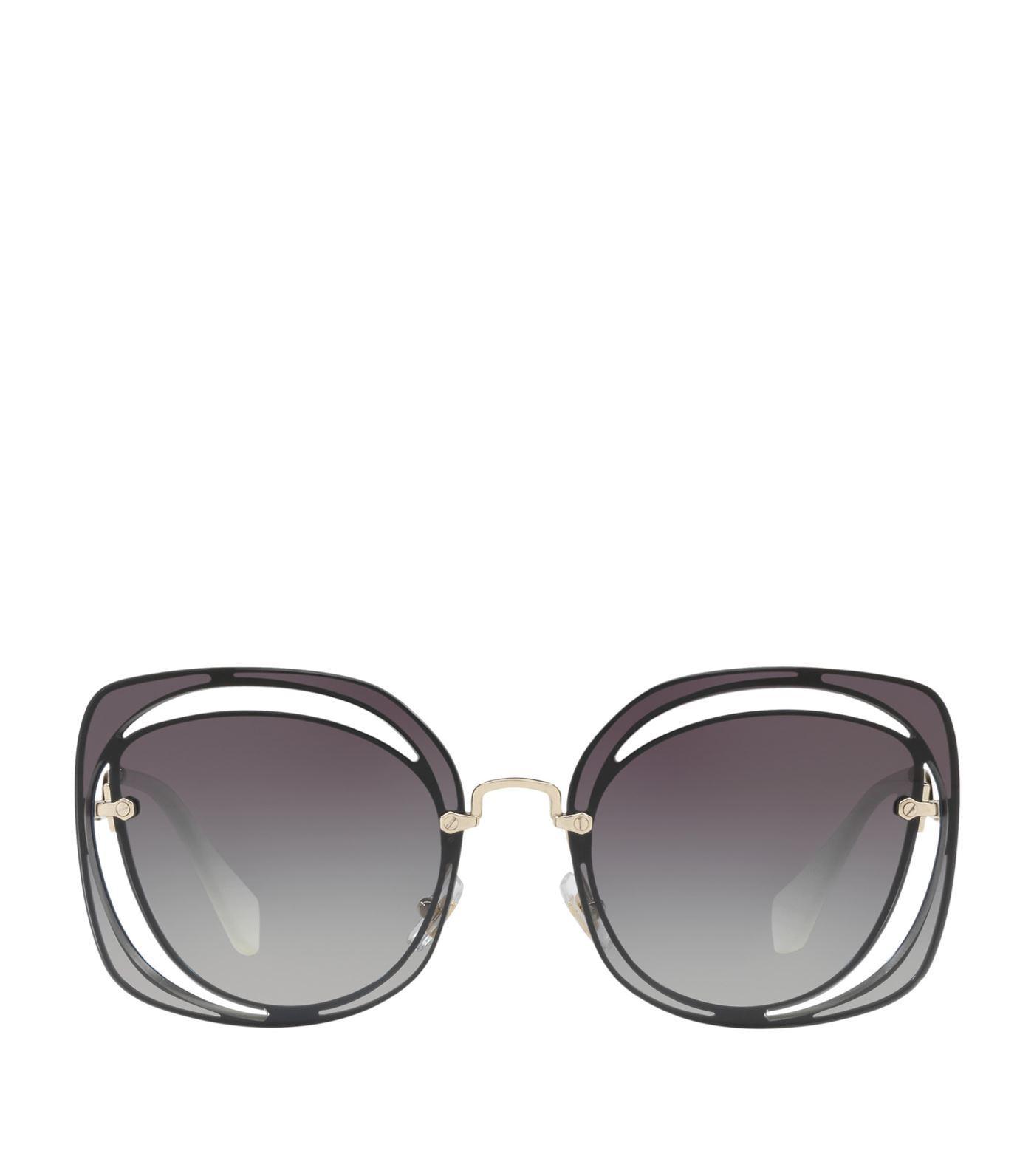 45597ab4989 Miu Miu Cut-Out Irregular Sunglasses In Grey