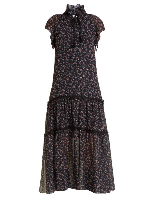 Ruffled Lace Trimmed Floral Print Georgette Midi Dress in Navy Multi