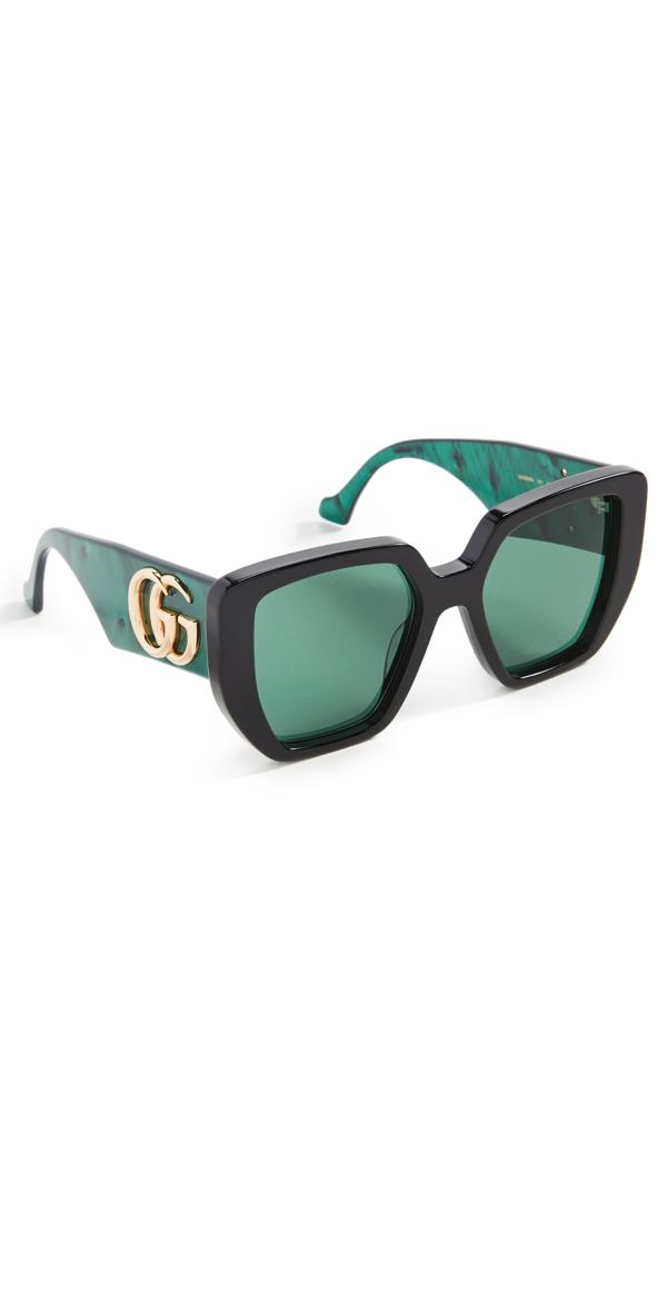 Gucci Generation 54mm Oversized Rectangular Sunglasses In Black Green Green