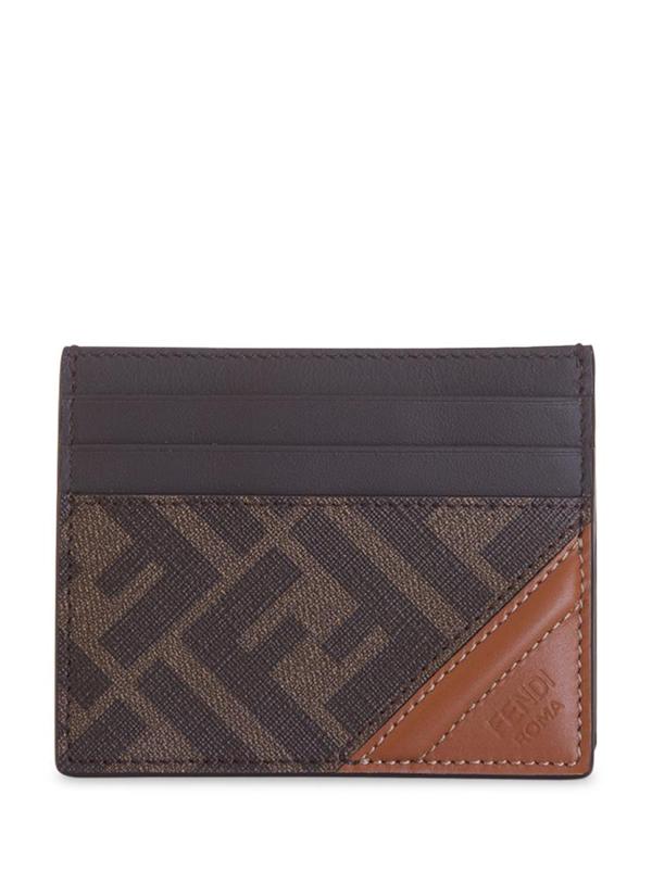 Fendi Ff Bi-fold Wallet In Marrone