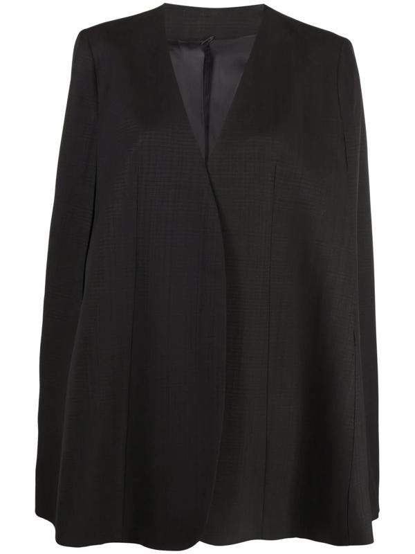 Totême Padded-shoulder Twill Cape In Black