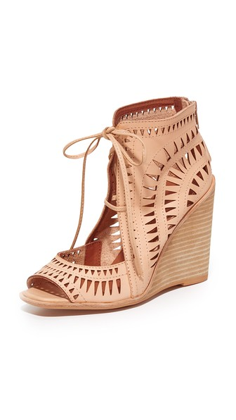 718157fccd JEFFREY CAMPBELL RAYOS PERFORATED WEDGE SANDAL, NUDE LEATHER | ModeSens