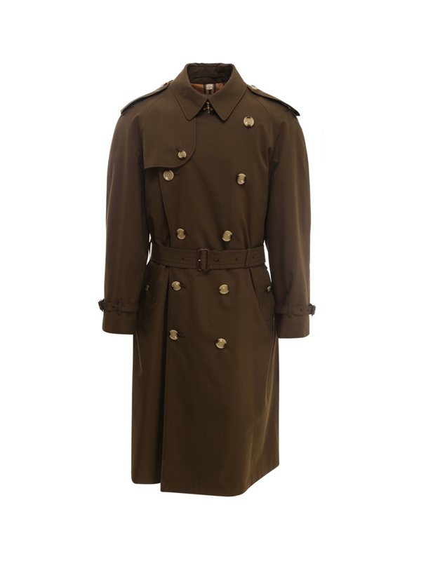 Burberry Double Breasted Trench Coat In Green