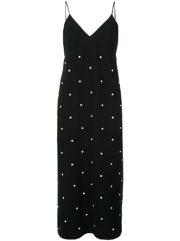 Tibi Neve Embellished Slipdress In Black/ White Multi