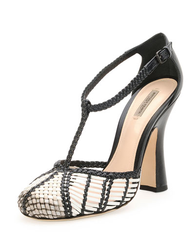 Bottega Veneta Prusse Stuoia Leather Sandals In Bian-Mist/Pru