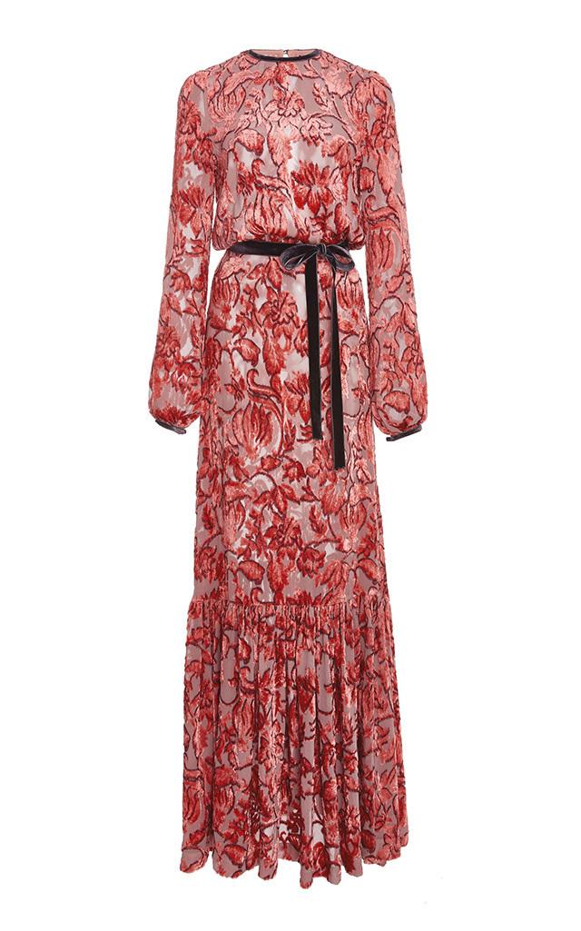 5f9b7f6eb9e4 Alexis Felice Velvet Burnout Maxi Dress In Red Pattern