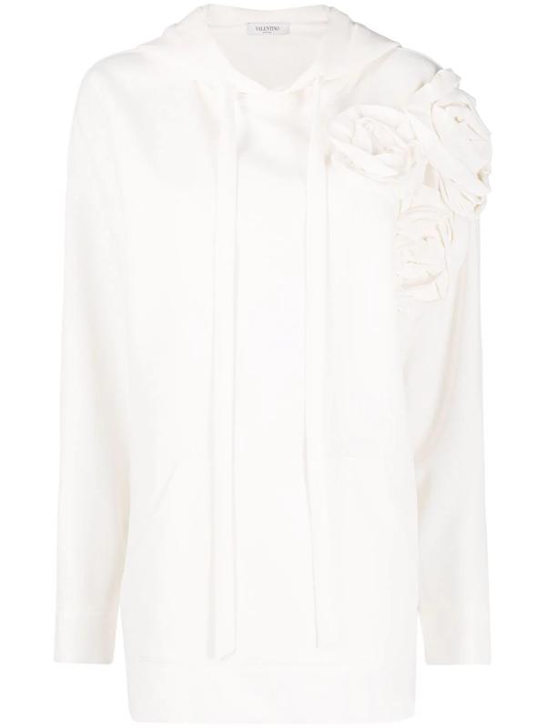 Valentino Floral Appliqué Silk-blend Hoodie In Nude