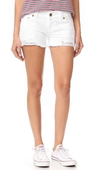 d2c3dc788 True Religion Keira Ripped Cutoff Denim Shorts In Urban Space Optic White