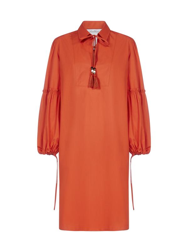 Max Mara Fedora Cotton Tunic Dress In Orange