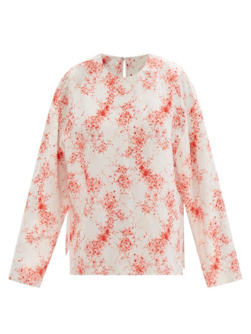 Valentino Roseflow-print Silk Crepe De Chine Blouse In White Multi