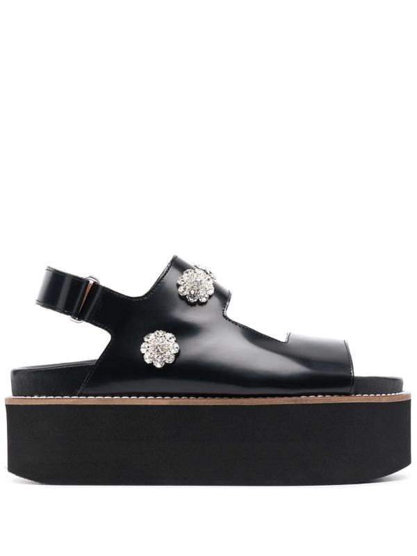 Ganni Crystal Floral Charm Slingback Leather Platform Sandals In Black