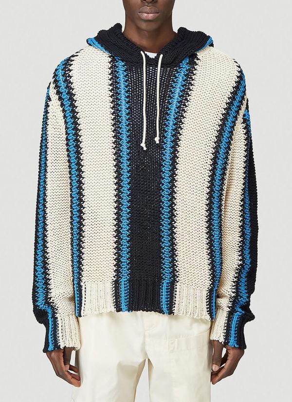 Jil Sander + Stripe Hooded Jumper In Multi